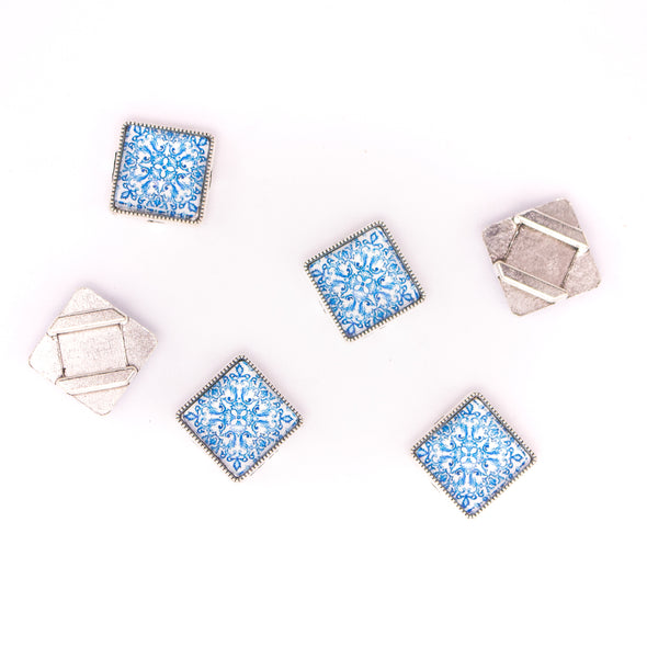 10units For 10mm flat cord slider with square Portuguese tiles for bracelet finding(17mm*17mm) D-1-10-232