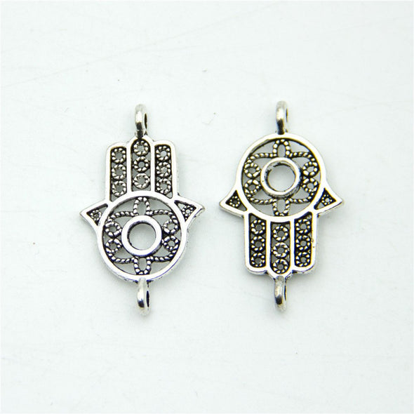 20 units Pendant antique silver hand with eye charms Pendants Jewelry Findings & Components D-3-315