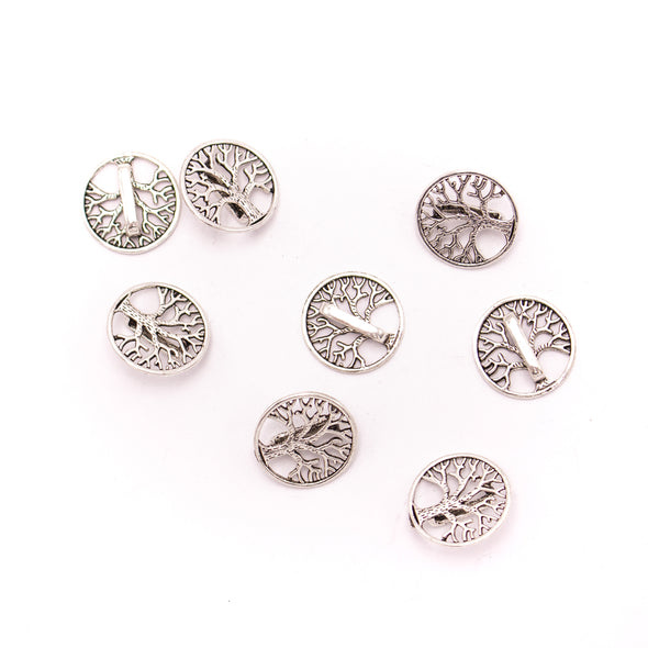 20Pcs For 10mm flat leather,Antique Silver Round tree bracelet accessories jewelry supplies jewelry finding D-1-10-237