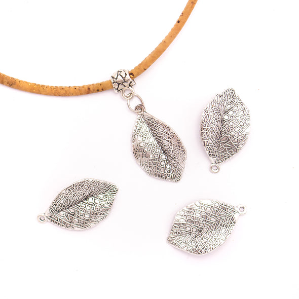 10Pcs Antique sliver leaf pendant Silver Charms, DIY Bracelets Necklace Bangle, Leaf Charms Pendant, Charms For Jewelry MakingD-3-446