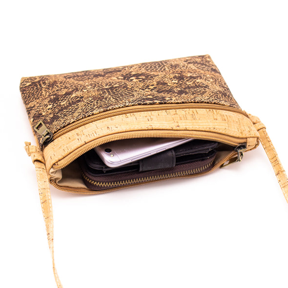 Natural cork with pattern small zipper crossbody purse bag BAG-603