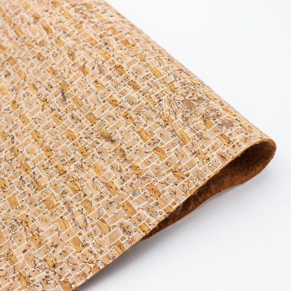White weaving pattern natural cork fabric COF-139
