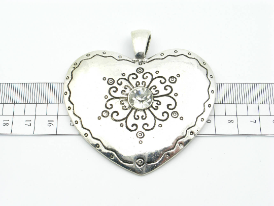 5 units antique silver big heart Necklace pendant jewelry finding suppliers D-3-49