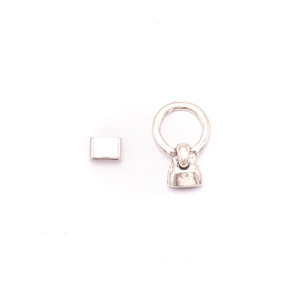 5Units For10mm -3mm leather clasp, for 10mm flat antique silver snap clasp jewelry finding D-6-254