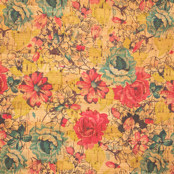 Green and red rose pattern cork fabric COF-269