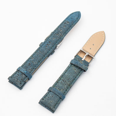 Cork turquoise color watch strap  E-020-18/20