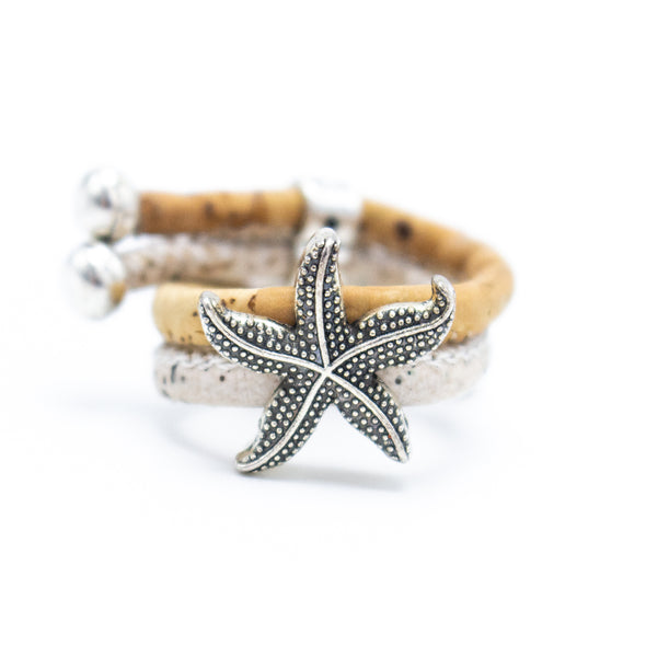 Cork ring with starfish sea charm Handmade original jewelry adjustable ring R-071