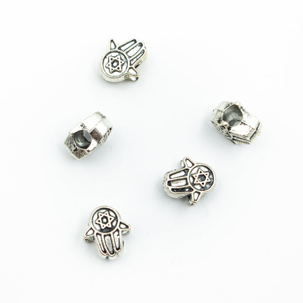 10pcs Silver Zamak hand slider for 5mm cord D-5-5-86