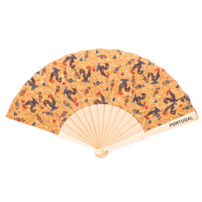 Cork hand fan with Traditional portuguese parrten  folding fan L-024-C