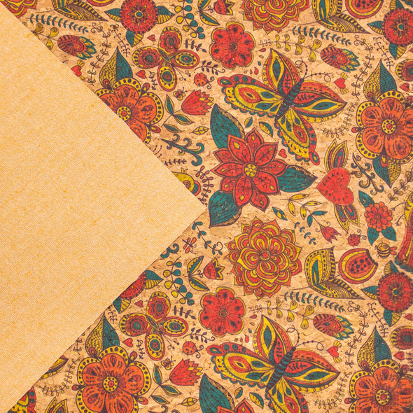 Butterfly and flower Cork fabric COF-306