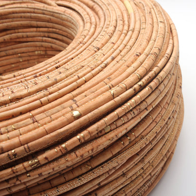 Natural with gold cork 5mm round cork cord Portuguese cork  COR-181(10meters)