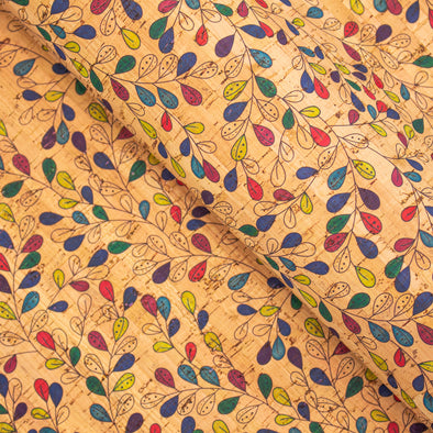 Cork fabric Vine flower Leaves pattern COF-287