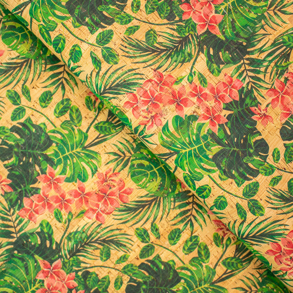 Tropical flowers pattern Cork Fabric COF-247