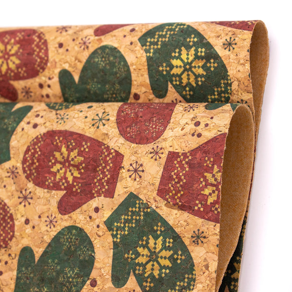Natural cork Christmas Fabric Collection Christmas gloves pattern COF-327