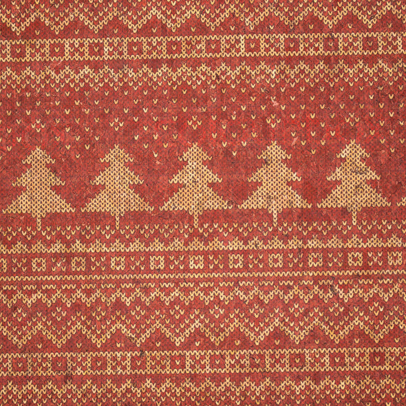 Natural cork Christmas Fabric Collection Red christmas fir tree pattern COF-329