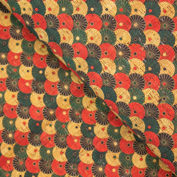Multicolored Flowers pattern Cork Fabric COF-252