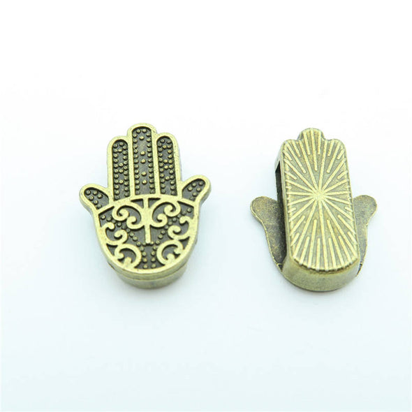 10 Pcs for 10mm flat leather,Antique brass Fatima Hand jewelry supplies jewelry finding D-1-10-60