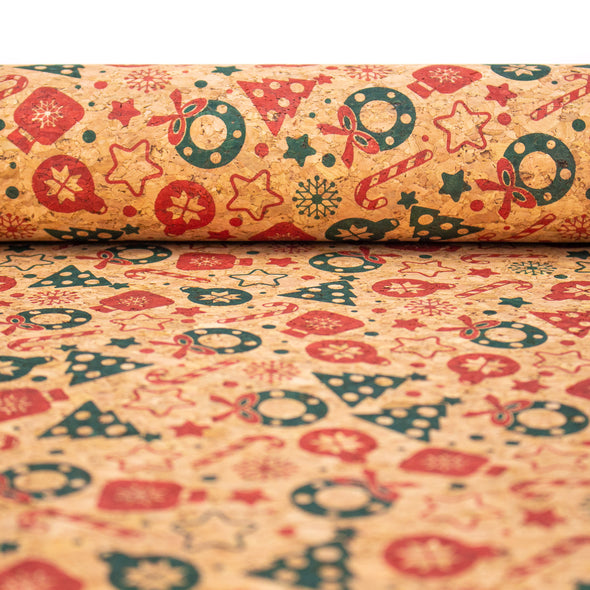 Natural cork Christmas Fabric Collection Christmas pattern COF-325