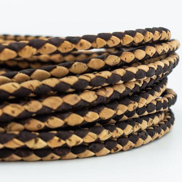 Braided natural with brown 3mm round Cork Cord COR-370(10meters)