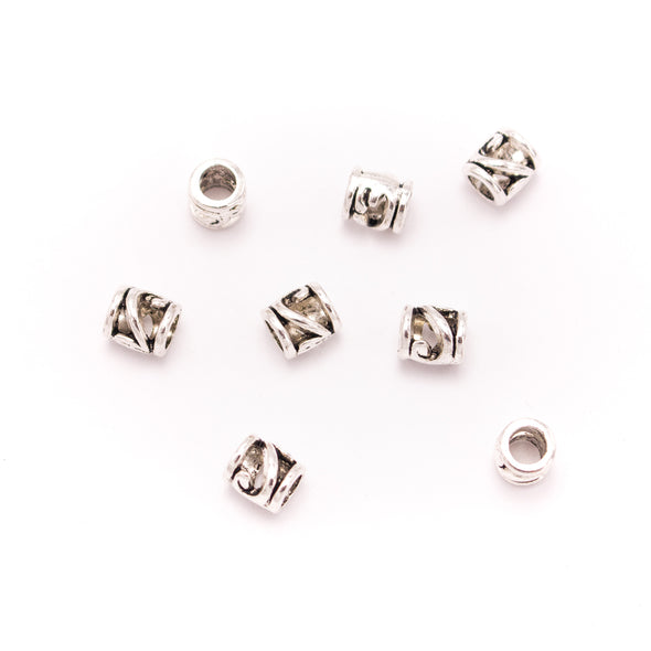 30PCS For 5mm leather antique silver zamak 5mm round Hollow beads Jewelry supply Findings Components- D-5-5-179