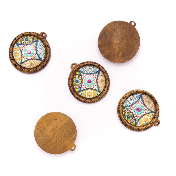 5pcs 38mm Round natural cork Portugal traditional ceramic tile pattern jewelry finding D-3-457