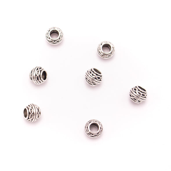20PCS For 5mm leather antique silver zamak 5mm round beads Jewelry supply Findings Components- D-5-5-184