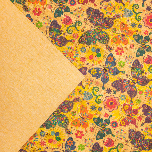 Colourful butterflies and flowers pattern Cork Fabric COF-255