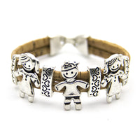 Boy and girl handmade famliy cork bracelet B-944