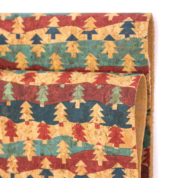 Natural cork Christmas Fabric Collection Christmas tree pattern COF-331