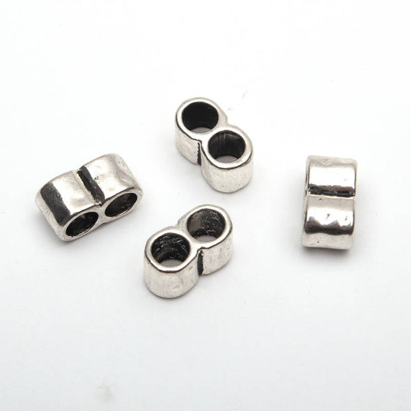 20 Pcs for 5mm round leather Antique Silver 2 Stand bead , jewelry supplies jewelry finding D-5-5-75