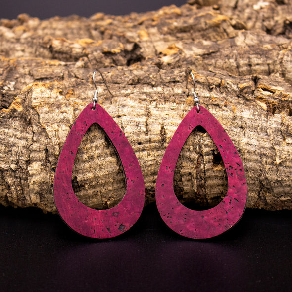 Red Cork Hoop Earrings, Natural Cork Earrings, Hoop Jewelry, Cork Earrings, Statement Earrings, Large Dangle Earrings, ER-073-B
