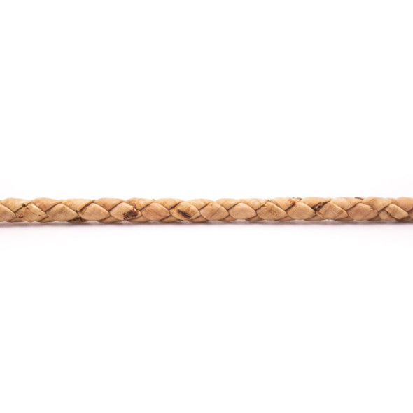 10 meters Natural Cork 2.5mm Braided round cork cord COR-387