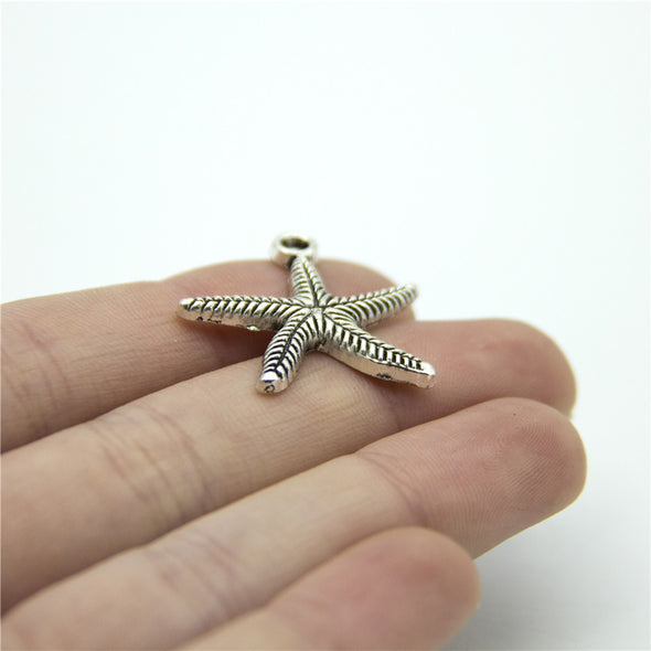 10 units antique silver starfish charm finding jewelry finding suppliers D-3-274