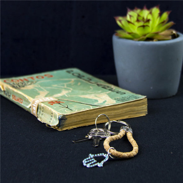 Natural Cork handmade keychian with green cute heart Charm,wooden Keychain original porta chaves I-048-B