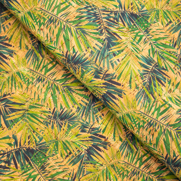 Areca Palm leafs pattern Cork Fabric COF-242