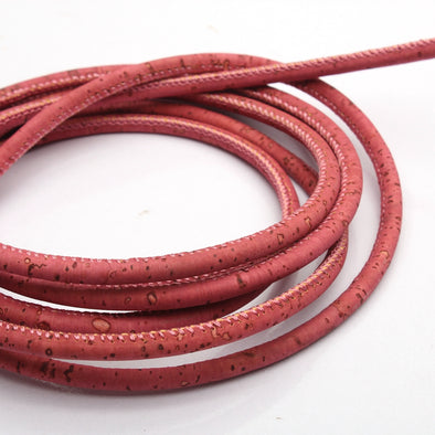 10meter 5mm round old pink cork cord COR-335