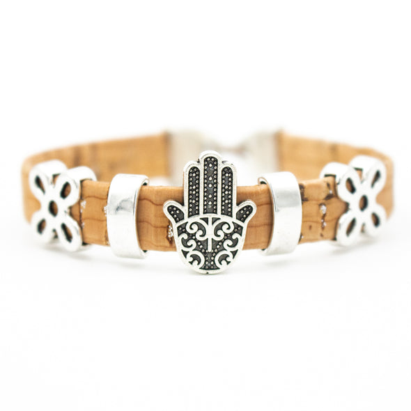Natural cork made Fatima Hand women vintage Bracelet original lady handmade natural jewelry BR-107-C