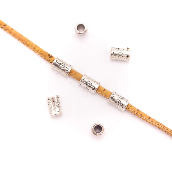 30Pcs for 3mm round leather Antique Silver small tube jewelry supplies jewelry finding D-5-3-135