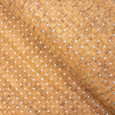 Silver square dots natural cork fabric COF-137