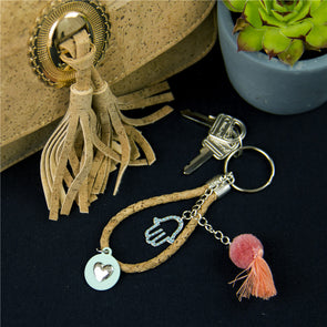 Natural Cork handmade keychian orange tassel with green cute heart hand Charm,wooden Keychain original porta chaves I-049-B