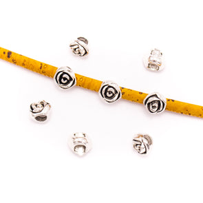 20PCS For 5mm leather antique silver zamak rose beads, Jewelry supply Findings Components- D-5-5-150