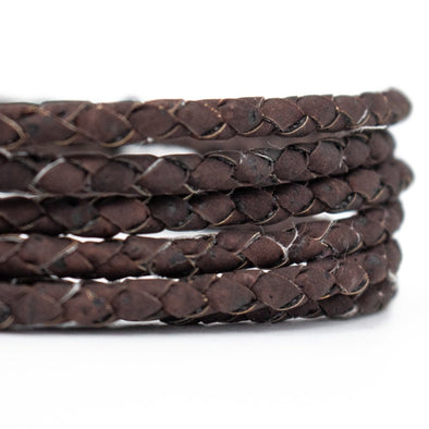 4mm Dark Brown Braided Cork Cord COR-383(5meters)
