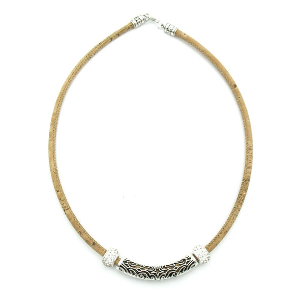 Tube handmade cork necklaceN-167