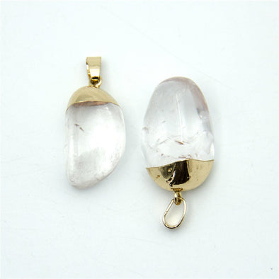 1pcs transparent gold polished natural stone crystal irregular shape pendant 27x13mm jewellery jewelry finding D-3-346-E