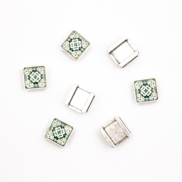 10units For 10mm flat cord slider with Square Portuguese tiles for bracelet finding(14mm*14mm) D-1-10-220