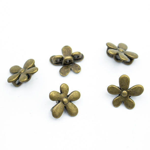 10pcs bronze zamak flower slider for 3mm round cord D-5-3-6-B