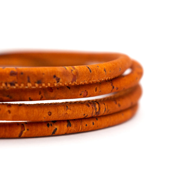 5mm round orange cork cord COR-332