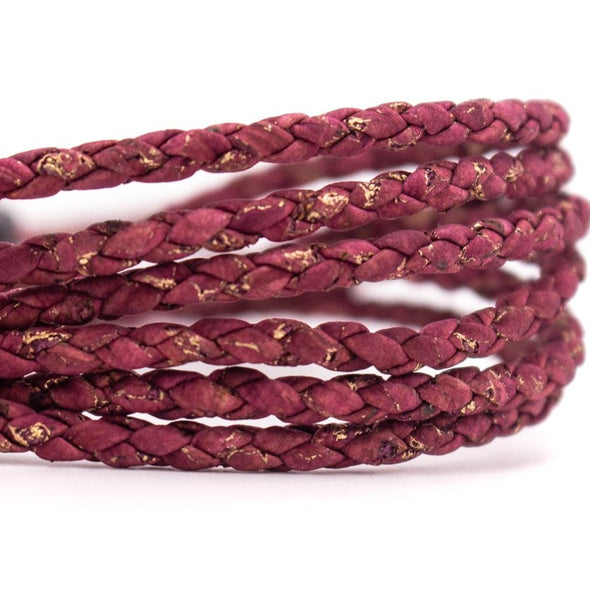 10meters Wine red with gold braided 3mm round cork cord COR-394