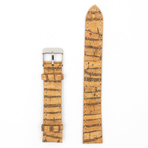 20mm Natural cork strap with stripes E-022-20