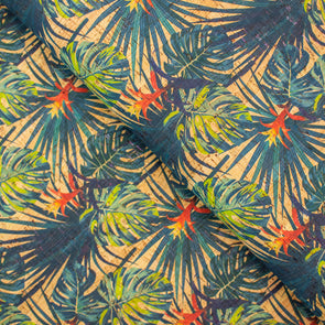 Guzmania flower and leaves pattern Cork Fabric COF-250